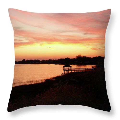 Hampton Throw Pillow featuring the photograph Hampton Virginia Sunset by Brett Winn