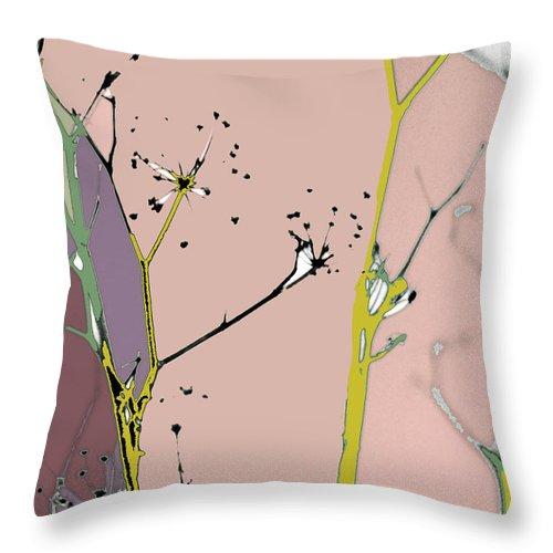 Weeds Throw Pillow featuring the digital art Hamptons Blush by Ceil Diskin