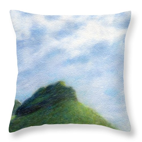 Rainbow Colors Pastel Throw Pillow featuring the painting Hanakapia Beach View by Kenneth Grzesik