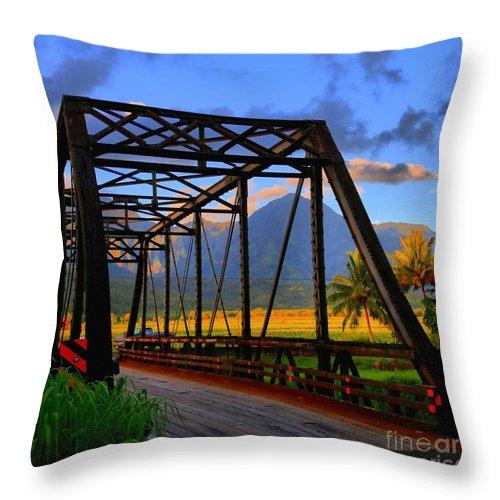 Hawaii Throw Pillow featuring the photograph Hanalei Bridge by DJ Florek