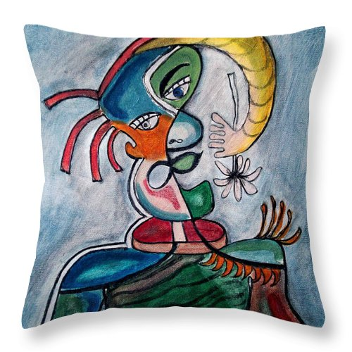Abstract Face Throw Pillow featuring the painting Hand Me A Flower by W Todd Durrance