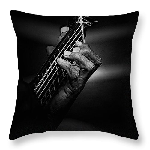 Guitar Throw Pillow featuring the photograph Hand Of A Guitarist In Monochrome by Sheila Smart Fine Art Photography