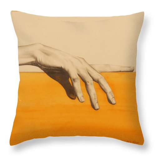 Hand Throw Pillow featuring the painting Hand On Orange by Michelle Miron-Rebbe