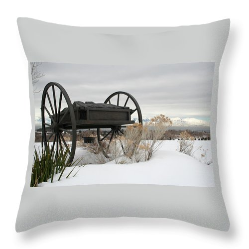 Handcart Throw Pillow featuring the photograph Handcart Monument by Margie Wildblood
