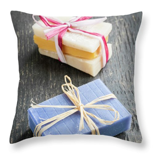 Soaps Throw Pillow featuring the photograph Handmade Soaps by Elena Elisseeva