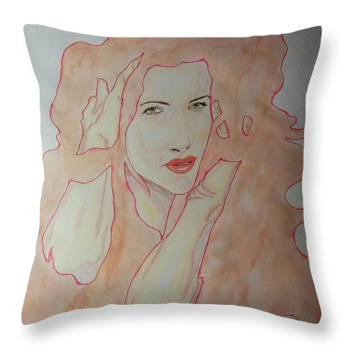 Throw Pillow featuring the mixed media Hands In Hair by Rafael Colon