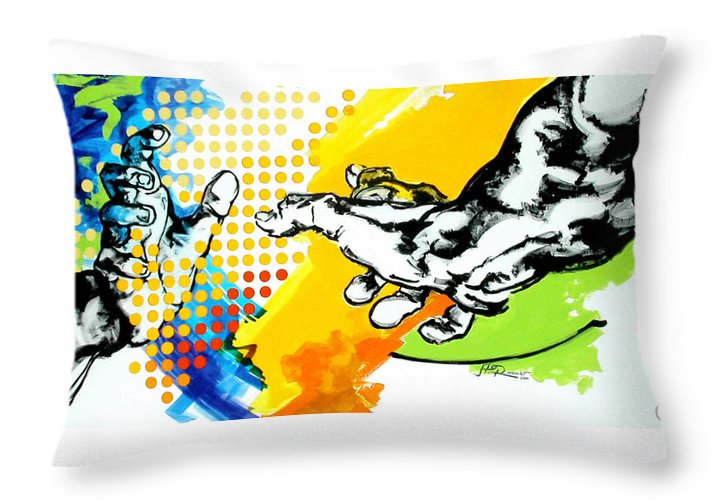 Classic Throw Pillow featuring the painting Hands by Jean Pierre Rousselet