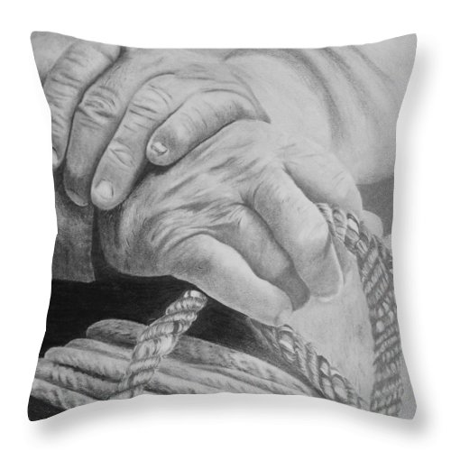 Hands Throw Pillow featuring the drawing Hands Of The Master by Duane Isaacson