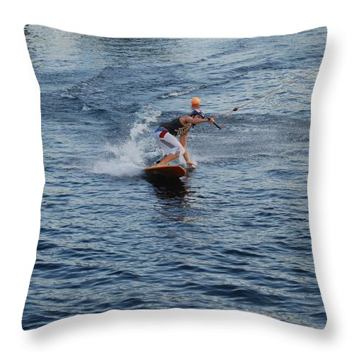 Waves Throw Pillow featuring the photograph Hanging 15 by Rob Hans