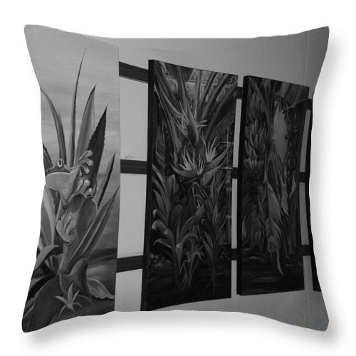 Black And White Throw Pillow featuring the photograph Hanging Art by Rob Hans