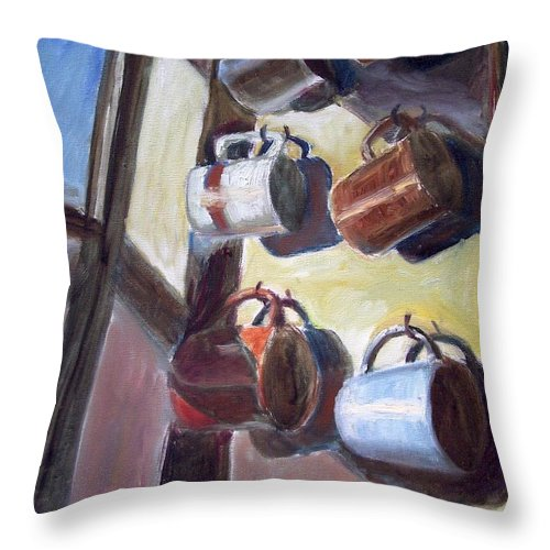 Dornberg Throw Pillow featuring the painting Hanging Cups by Bob Dornberg