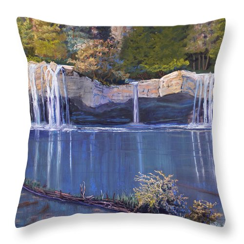 Landscape Throw Pillow featuring the painting Hanging Lake by Heather Coen