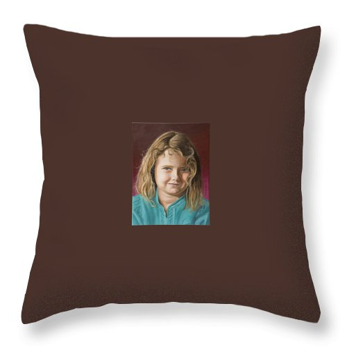 Portrait Throw Pillow featuring the painting Hanna by Rob De Vries
