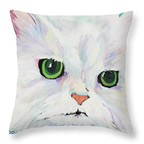 Acrylic Throw Pillow featuring the painting Hannah by Pat Saunders-White