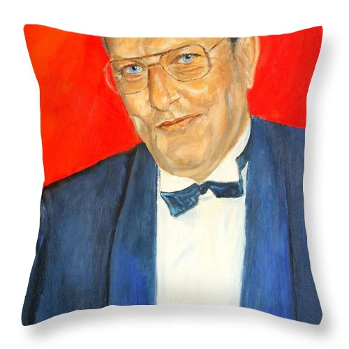 Portrait Throw Pillow featuring the painting Hanns by Dagmar Helbig