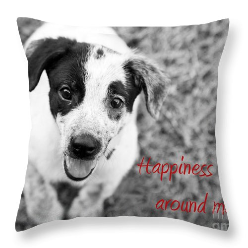 Puppy Throw Pillow featuring the photograph Happiness Is All Around Me by Amanda Barcon