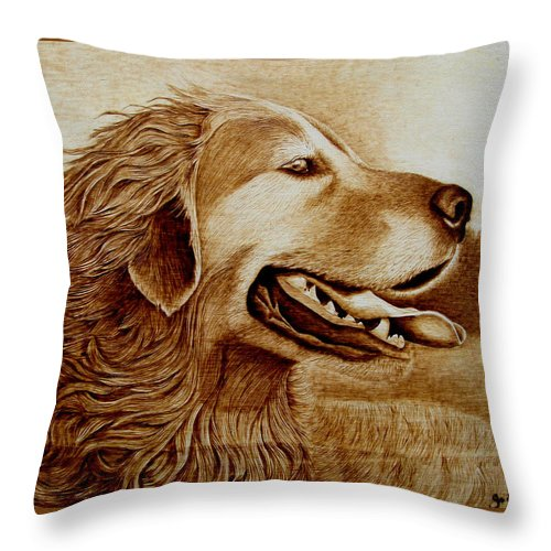 Dog; Setter; Irish Setter; Wind; Happy; Sepia; Woodburning; Pyrography; Hunt; Field;sunshine;tongue Throw Pillow featuring the pyrography Happiness by Jo Schwartz