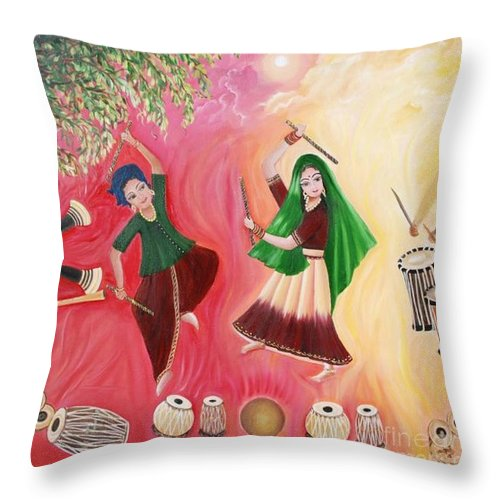 Figurative Throw Pillow featuring the painting Happiness by Usha Rai