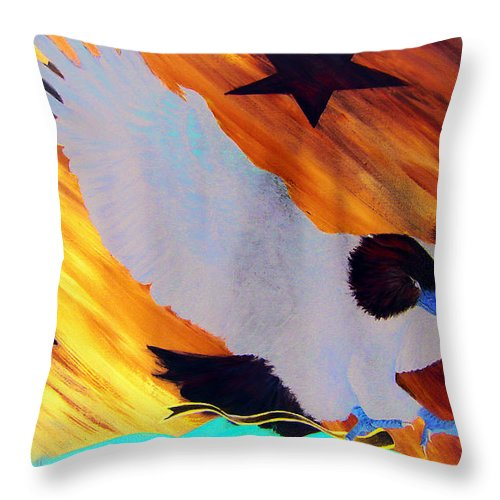 Eagle Throw Pillow featuring the painting Happy 4th Of July by Leonardo Ruggieri