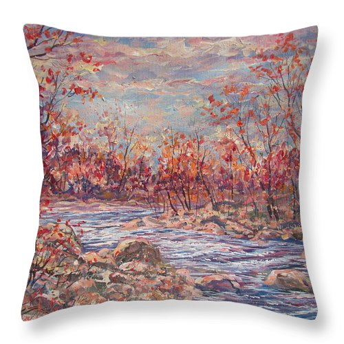 Landscape Throw Pillow featuring the painting Happy Autumn Days. by Leonard Holland
