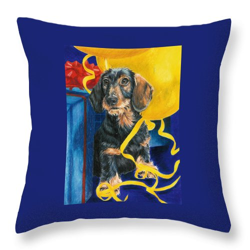 Dogs Throw Pillow featuring the drawing Happy Birthday by Barbara Keith