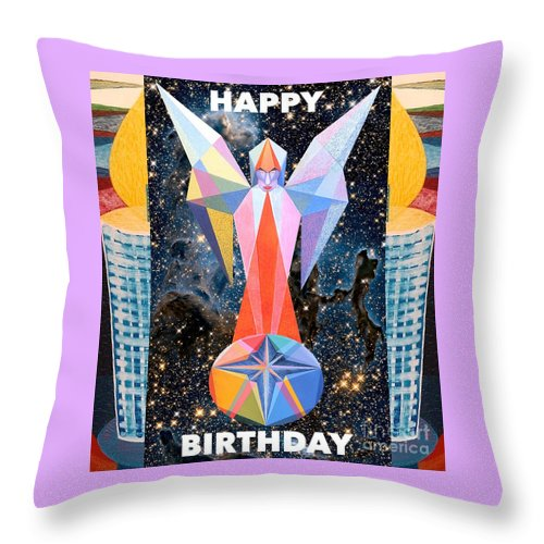 Wishes Throw Pillow featuring the painting Happy Birthday- Candle - 1 by Michael Bellon