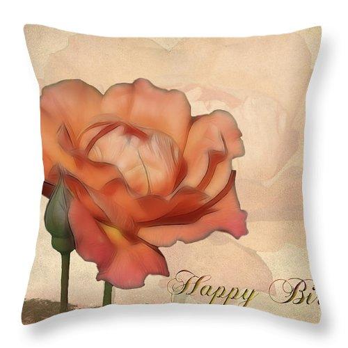 Flower Throw Pillow featuring the photograph Happy Birthday Peach Rose Card by Teresa Zieba