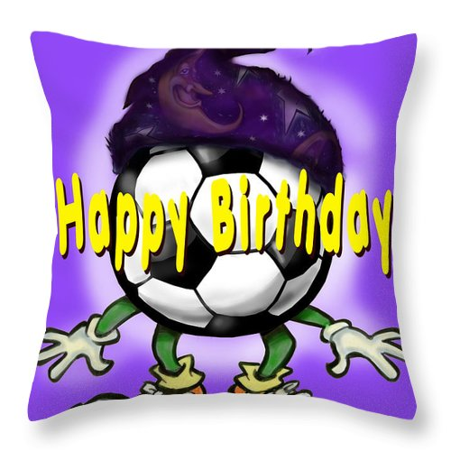 Soccer Throw Pillow featuring the greeting card Happy Birthday Soccer Wizard by Kevin Middleton