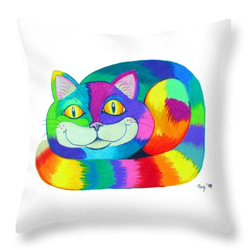 Cat Throw Pillow featuring the drawing Happy Cat by Nick Gustafson