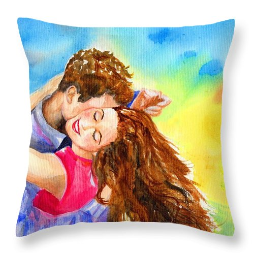 Cheerful Throw Pillow featuring the painting Happy Dance by Laura Rispoli