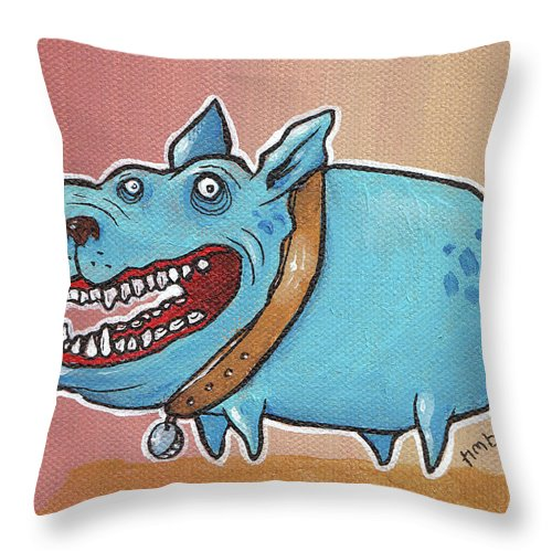 Blue Dog Throw Pillow featuring the painting Happy Dawg by Tim Boyd
