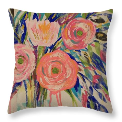 Floral Throw Pillow featuring the painting Happy Day by Melisa Farthing