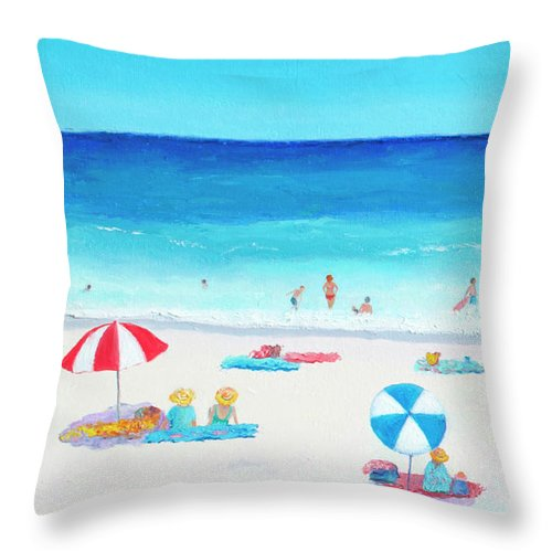 Beach Throw Pillow featuring the painting Happy Days 1 by Jan Matson