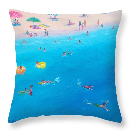 Beach Throw Pillow featuring the painting Happy Days At The Seaside by Jan Matson