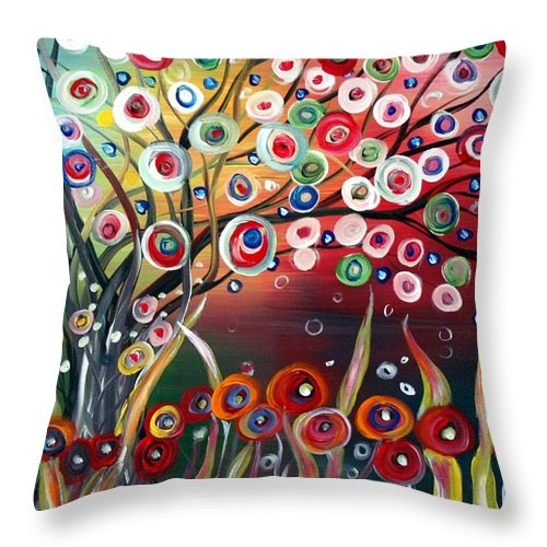 Landscape Throw Pillow featuring the painting Happy Days by Luiza Vizoli