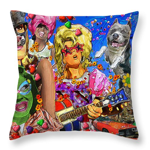 Dog Throw Pillow featuring the digital art Happy Dog by Ethan Chodos