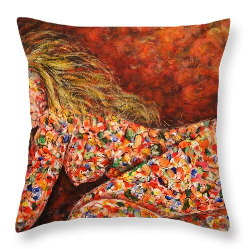Sleeping Nude Throw Pillow featuring the painting Happy Dream by Natalie Holland