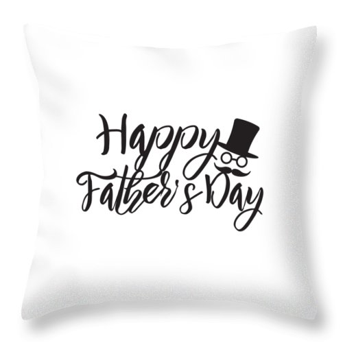 Happy Fathers Day Calligraphy Text Illustration Throw Pillow For