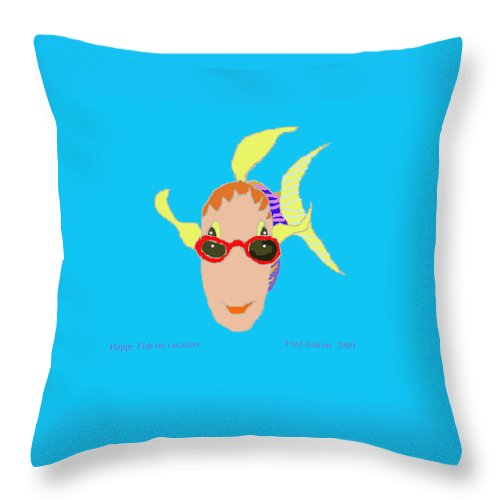 Happy Fish Throw Pillow featuring the painting Happy Fish On Vacation by Fred Jinkins