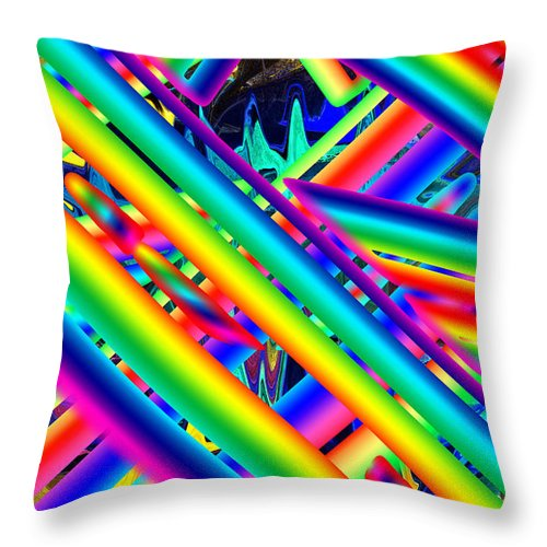Psychadelic Throw Pillow featuring the digital art Happy Flash by Ted Shado