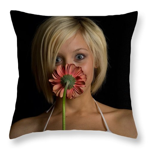 Flower Throw Pillow featuring the photograph Happy Flower by Scott Sawyer