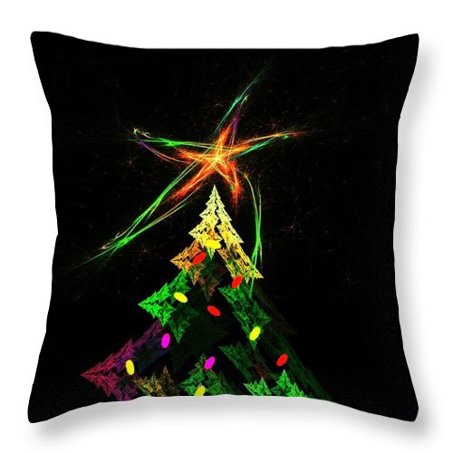 Abstract Digital Painting Throw Pillow featuring the digital art Happy Fractal Holidays by David Lane