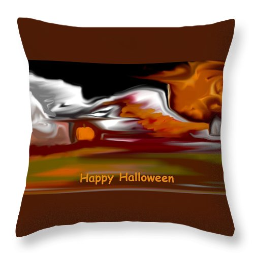 Abstract Digital Painting Throw Pillow featuring the digital art Happy Halloween by David Lane