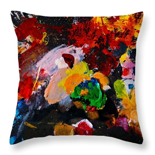 Abstract Throw Pillow featuring the painting Happy Harmony by Natalie Holland