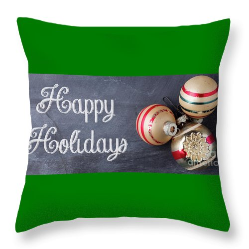 Mug Throw Pillow featuring the photograph Happy Holidays Chalkboard Mug by Edward Fielding