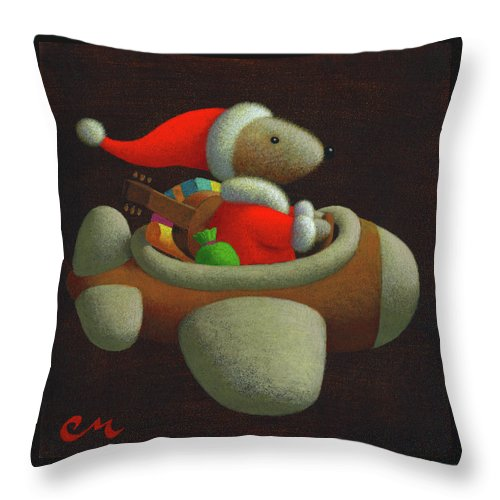Christmas Throw Pillow featuring the painting Happy Holidays by Chris Miles