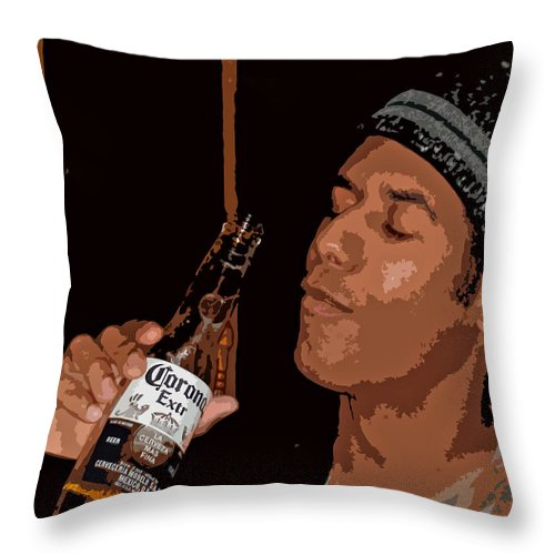 Portrait Man Male Figure Beer Corona Happy Hour Bar Drink Throw Pillow featuring the photograph Happy Hour by Grace Rose