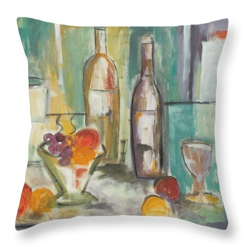 Abstract Throw Pillow featuring the painting Happy Hour I by Trish Toro
