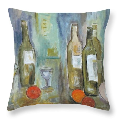 Abstract Throw Pillow featuring the painting Happy Hour II by Trish Toro