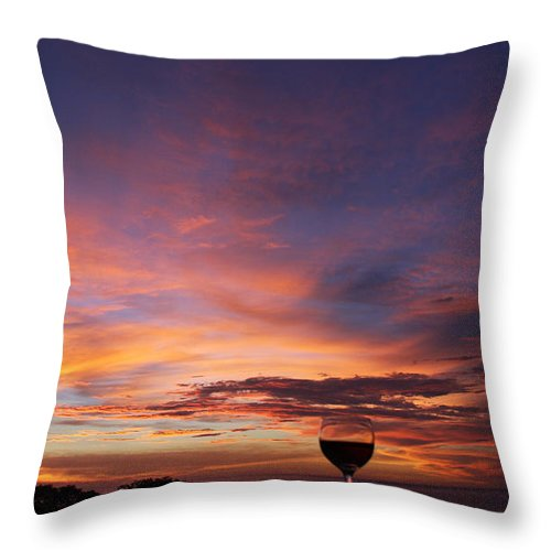 Vino Glass Of Wine Sunset Costa Rica Beauty Happy Hour Throw Pillow featuring the photograph Happy Hour by Sandy Campbell
